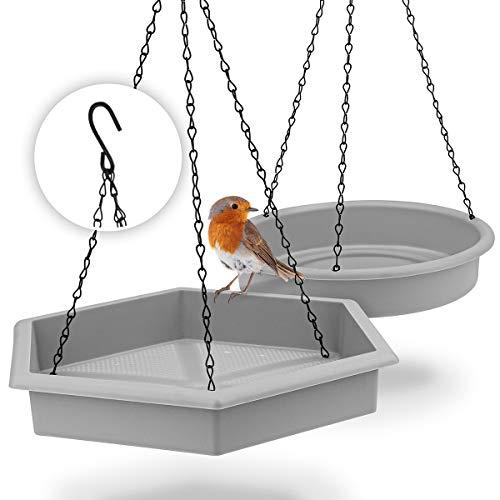 WILDLIFE FRIEND I 2er Set Vogeltränke hängend, (32x28x5cm, ∅ 25cm) I XL Vogeltränke groß Garten Balkon - Vogelfutterspender mit Vogeltränke hängend für Wildvögel im Garten