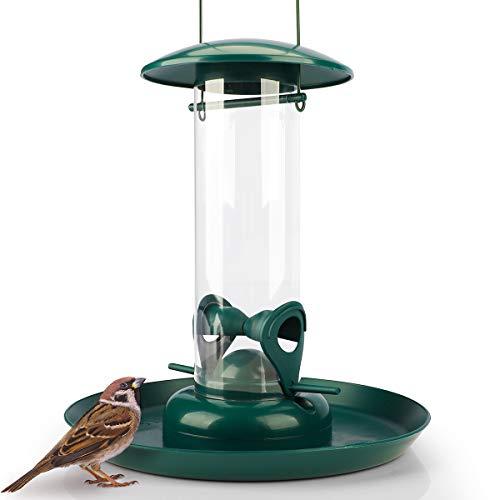 WILDLIFE FRIEND I Körner Futtersäule mit XL Futterteller, Grün - Futterschale für Vögel zum Aufhängen mit Anflugplätzen, Futterstation zur ganzjährigen Wildvögel Fütterung