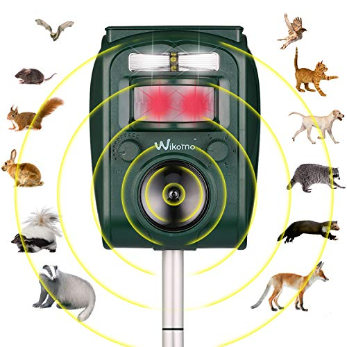 Krobot Katzenschreck Tiervertreiber, Solar Ultraschall Blitz Wasserdicht Abwehr Hundeschreck Marderabwehr vogelabwehr, 5 Modus einstellbar