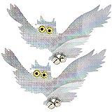 com-four® 2X Vogelabwehr als Eulenattrappe mit Glöckchen, 41 x 22 cm (02 Stück - Eule V2)