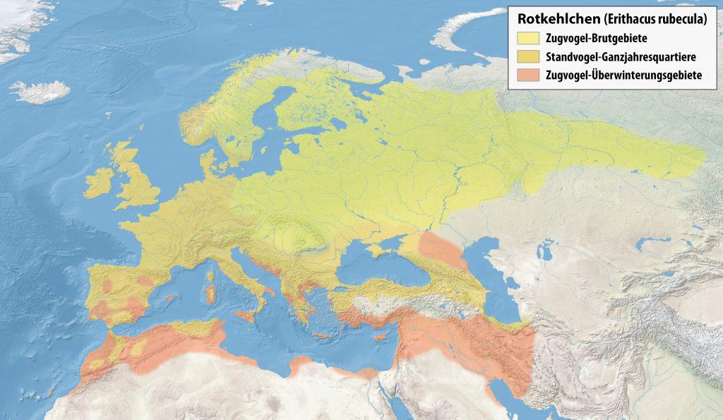 Rotkehlchen Verbreitungsgebiet