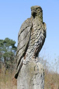 Adler Figur aus Holz geschnitzt.