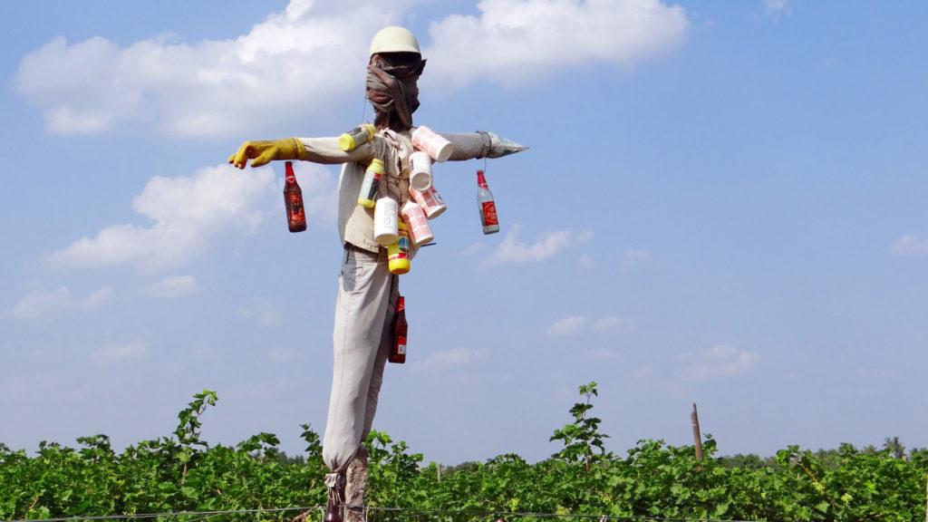 Vogelscheuche behängt mit Dosen und Flaschen